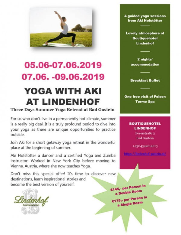 Three Days Summer Yoga Retreat at Bad Gastein.